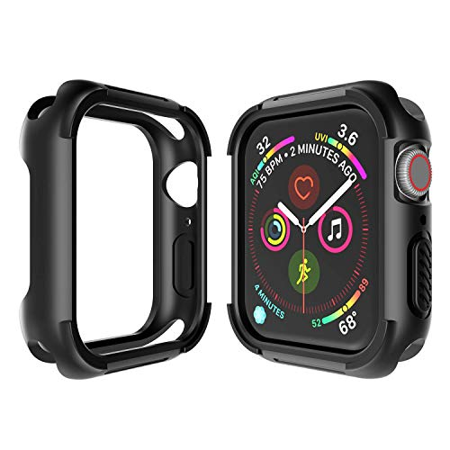 Case for Apple Watch Series 4 Case 44mm Apple Watch 4 Case Half Cover Case Black TPU+PC Protective Case Half Cover Case Special Designed for iWatch 4