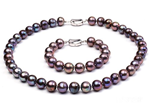 JYX Pearl Necklace Set AAA Quality 11-12mm Black Round Freshwater Pearl Necklace and Bracelet Set for Women