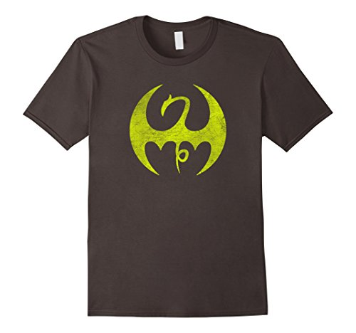 - Mens Marvel Iron Fist Distressed Dragon Logo Graphic T-Shirt XL Asphalt