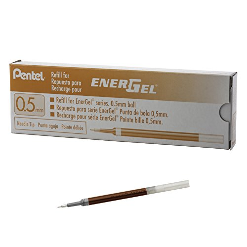 Pentel Refill Ink for EnerGel Pen Needle Tip, Fine, 12 Pack, 0.5mm, Orange (LRN5-F) (Refills Ink Pentel)