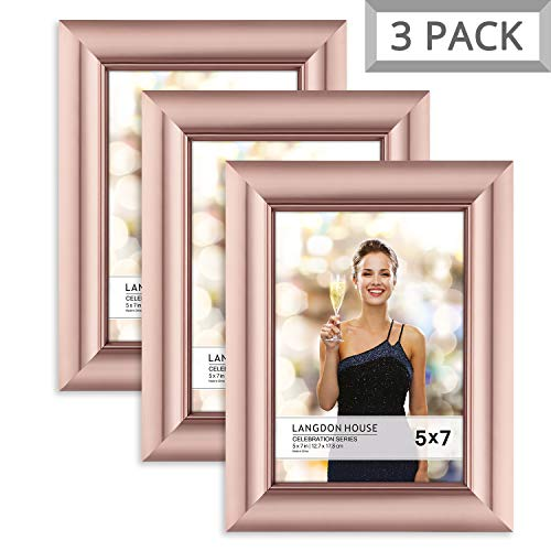 Langdons 5x7 Picture Frame (3 Pack, Rose Gold), Rose Gold Photo Frame 5 x 7, Wall Mount or Table Top, Set of 3 Celebration -