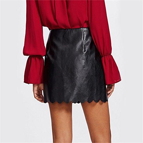 Scallop lgant Faux Noir PU Femmes Jupe Taille Black Une Haute Hem Court en Cuir Ligne Jupe Automne Mini Jupe 6ra6wqH5Y