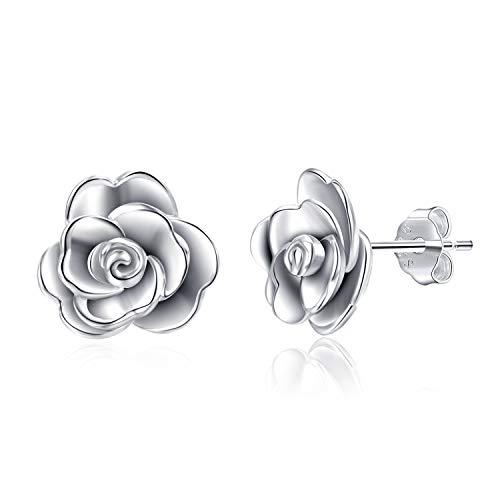 (LUHE Rose Flower Stud Earrings Sterling Silver Hypoallergenic 3D Rose Flower Stud Earrings for Women Teen Girls (Rose Stud Earrings))