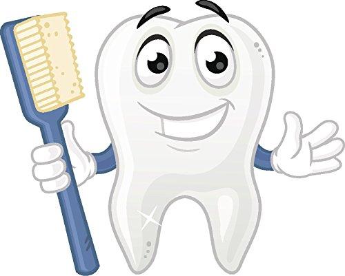 (Divine Designs Happy Sparkly White Dental Tooth with Toothbrush Cartoon Dentist Icon Vinyl Decal Sticker (4