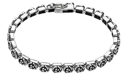 Paz Creations ♥925 Sterling Silver Rose Design Tennis Bracelet, Made in Israel (7.25)
