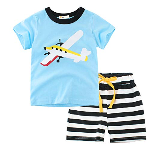 Boys 100% Cotton 2 Piece Pajamas Snug-fit Pjs Airplane Shorts Toddler Kids Sleepwears 2 3 T