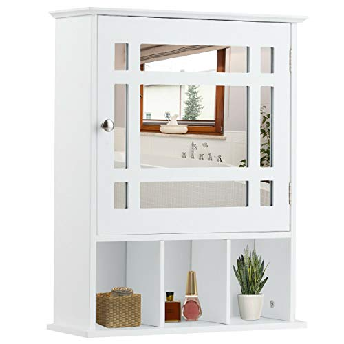 Tangkula Mirrored Medicine Cabinet, Bathroom Wall Mounted Storage Cabinet with Adjustable Shelf and 3 Open Compartments White