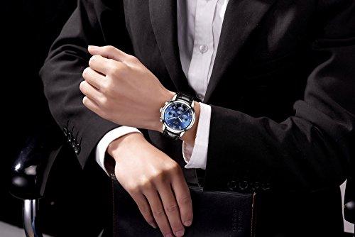 Watch Men Leather Strap Watches Men's Chronograph Waterproof Sport Date Quartz Wrist Watch Blue by LIGE (Image #4)