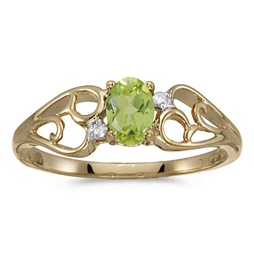 FB Jewels 10k Yellow Gold Genuine Green Birthstone Solitaire Oval Peridot And Diamond Wedding Engagement Statement Ring - Size 5.5 (2/5 Cttw.) ()