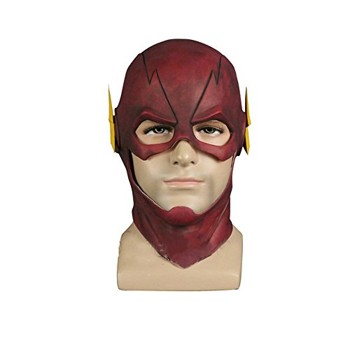 Molagogo The Flash Mask Cosplay Helmet Red Latex Full Head Mask Halloween Chrismas Party Props (The Flash)
