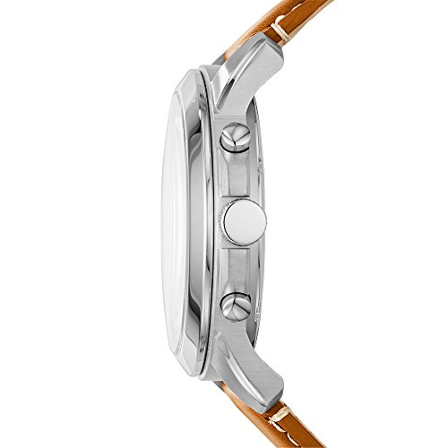 FossilMensFS5118StainlessSteelWatchwithBrownLeatherBand