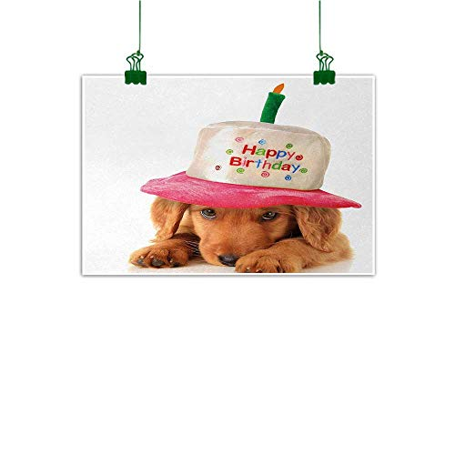 (Unpremoon Kids Birthday Modern Art Cute Puppy Wearing a Party Cone Shaped Hat with Candlestick Party Greetings Wall Decor for Home Office Decorations Multicolor W 36