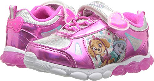 Josmo Kids Baby Girl's Paw Patrol Lighted Button Sneaker (Toddler/Little Kid) Pink/Silver 12 M US Little Kid M