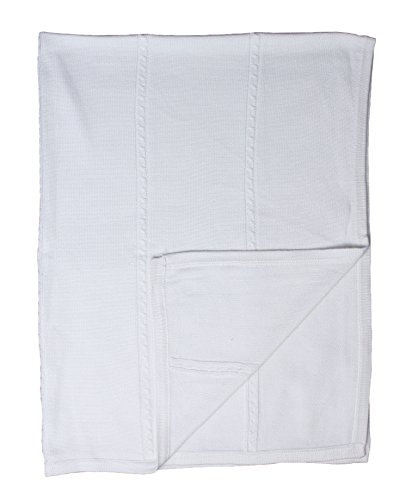 - Baby Fancy Christening White Hand Crochet Cotton Shawl/Blanket 39 x 29 in - Cable Knit