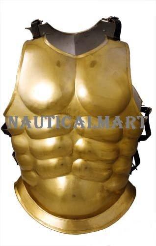 NAUTICALMART Steel Medieval Gold Finish Chest Plate Greek Costume -