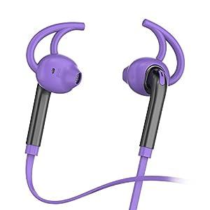 HonstekX7 Écouteurs intra-auriculaires Ecouteurs Casques avec microphone et contrôle du volume, Sport Courir Sweatproof Corded Headset avec basses puissantes et 3.5mm Jack(Violet)