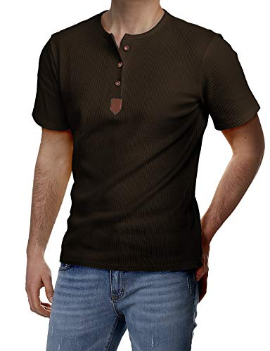 H2H Mens Basic Cotton Round-Neck Henley T-Shirts Brown US L/Asia XL ()
