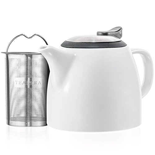 Tealyra - Drago Ceramic Small Teapot White - 22oz (2-3 cups) - With Stainless Steel Lid and Extra-Fine Infuser for Loose Leaf Tea - Lead-free - - Lid Teapot White