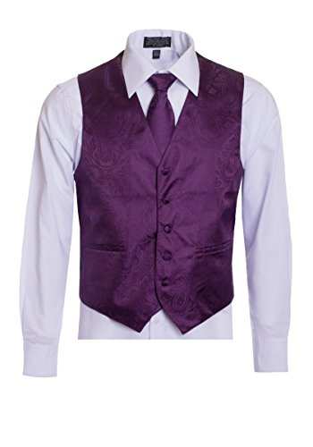 Men's Premium Paisley Vest Neck Tie Pocket Square Set Paisley Vest For Suits and Tuxedos-Many Colors (XLarge, Dahlia/Egg (Dahlia Plum)