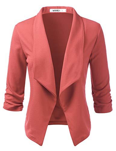 Doublju Womens Casual Work 3/4 Sleeve Open Front Blazer Jacket with Plus Size DARKMAUVE 2X ()