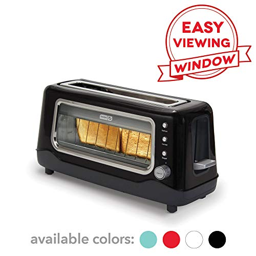 - Dash Clear View Toaster: Extra Wide Slot Toaster with Stainless Steel Accents + See Through Window - Defrost, Reheat + Auto Shut Off Feature for Bagels, Specialty Breads & other Baked Goods - Black