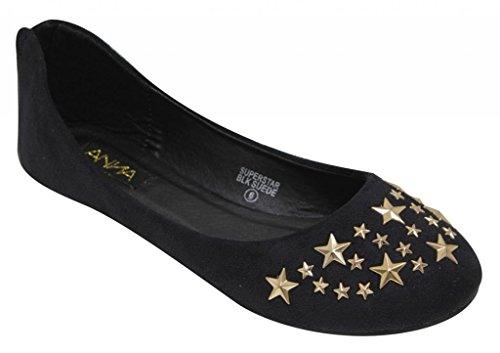Anna Superstar Womens Flat casual ballet slip on metal star rear zipper suede shoes Black LjUG0RPy