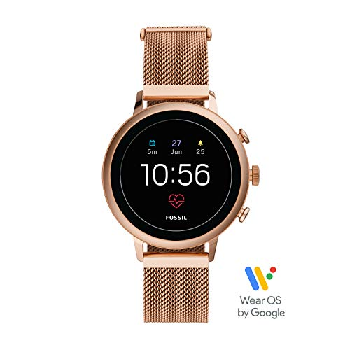 Fossil Women's Gen 4 Venture HR Heart Rate Stainless Steel Mesh Touchscreen Smartwatch, Color: Rose Gold (FTW6031)