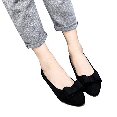 Women's Flat Smilun Ballet Ballet Ballerina Classic Black Bowknot dqE6UOE7Wx
