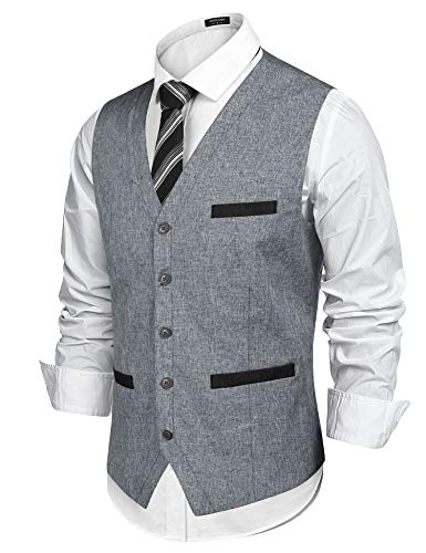 COOFANDY Men's Business Suit Vest Slim Fit Wedding Dress Vest Grey ()