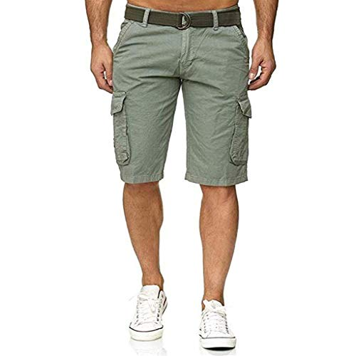 JustWin Men's Multi-Pocket Tooling Shorts Shorts Cargo Short Pant Button Cotton Multi-Pocket Overalls Gray