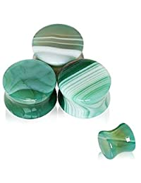 Natural Green Agate Stone Saddle WildKlass Plug