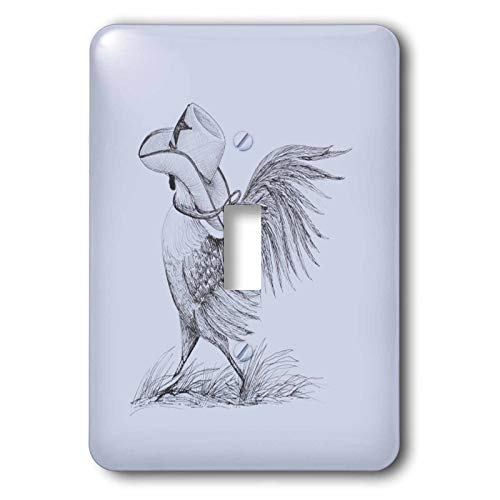 3dRose Amanda Leverman - Animals - Rooster Wearing Cowboy Hat - single toggle switch (lsp_317107_1)