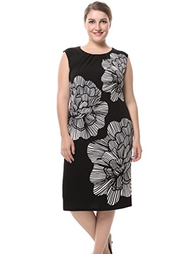 Chicwe Women's Plus Size Lined Floral Printed Sleeveless Dress - Knee Length Work and Casual Dress Ivory 24 from Chicwe