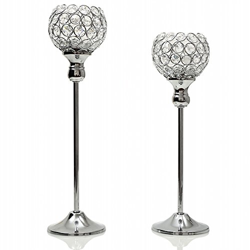 Carved Round Beads (VINCIGANT Silver Crystal Lantern Candle Holders for Mothers Day Dining Room Coffee Table Decorative Centerpiece/Housewarming Gifts,Set of 2)