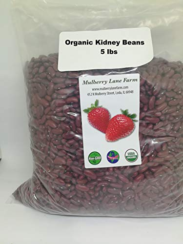 Dry Kidney Beans - Kidney Beans, Red, 5 Pounds Dried, USDA Certified Organic, Non-GMO Bulk