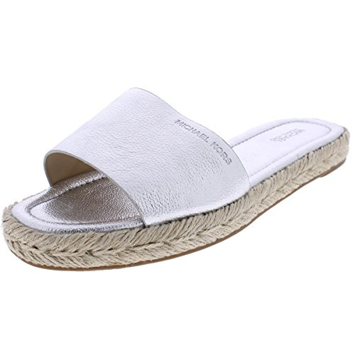 3ff5a1e4e58a MICHAEL Michael Kors Womens Dempsey Slide Sandals Silver 8 Medium (B ...