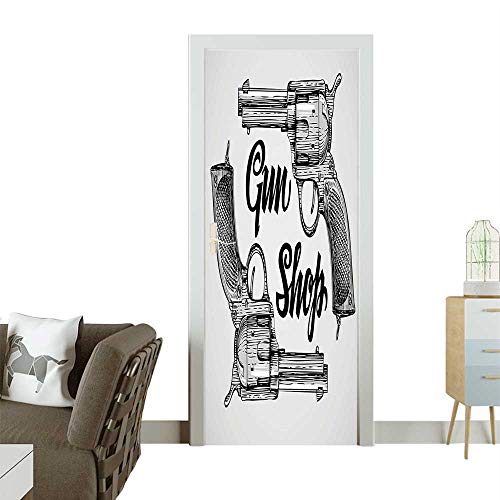 Homesonne Door Art Sticker W Tern Movi Cowboy Texas Tim Two Guns Pistols Image Black and White Room decorationW36 x H79 INCH ()