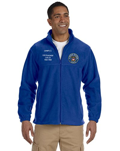 Navy Embroidered Zip - US Navy Custom Embroidered Personalized Full-Zip Fleece (Large, Blue)