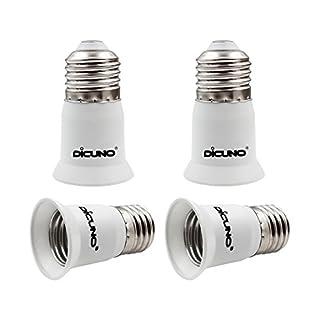 DiCUNO E26 to E26 3CM/1.2 Inch Socket Extender, E26 to E26 Lamp Bulb Socket Extension, Lamp Holder Adapter (4-Pack)