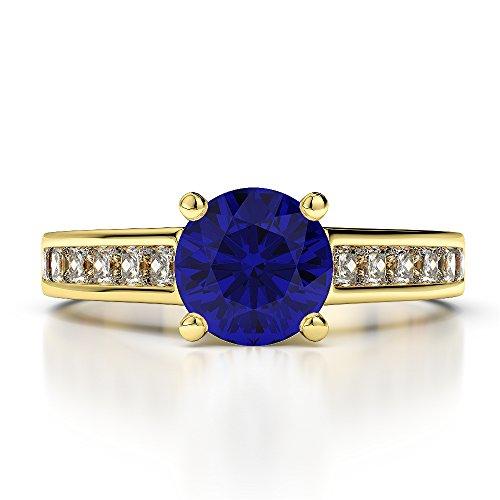 Or jaune 18carats 1.14CT G-H/VS sertie de diamants Saphir de coupe ronde et bague de fiançailles Agdr-1224