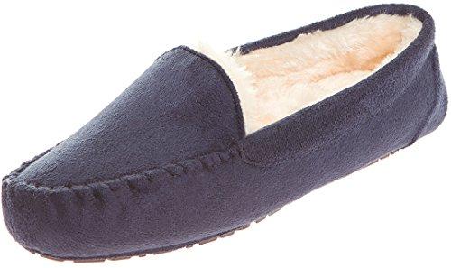 Floopi Womens Indoor Outdoor Fuax Fell gefüttert Mokassin Slipper W / Memory-Foam Marine-306