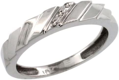 4.5mm w// 0.013 Carat Brilliant Cut Diamonds 5//32 in. 14k White Gold Ladies Diamond Wedding Ring Band size 6.5 wide