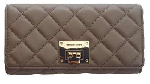 MICHAEL Michael Kors Astrid Soft Quilted Leather Carry All Wallet Dark Taupe/Gold by Michael Kors