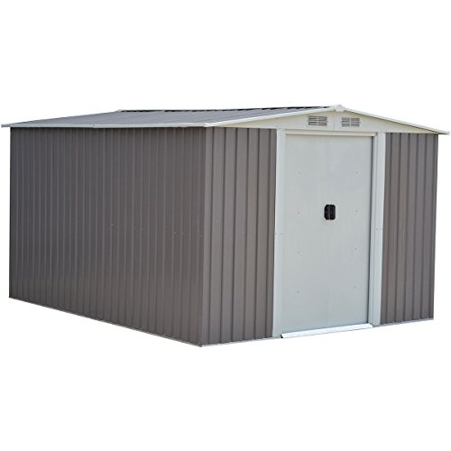 Goplus 10 x 8FT Galvanized Steel Outdoor Garden Storage Shed Heavy Duty Tool House W/ Sliding Door (Gray) (Galvanized Steel Shed)