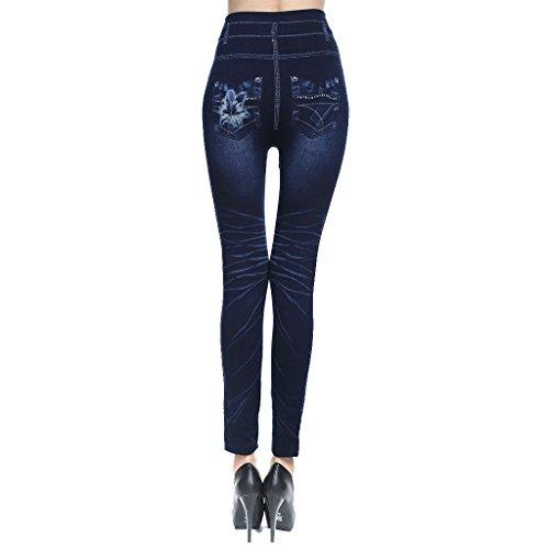 Algodón Mezclilla Mujer Jeans Pitillo Imitación azul Denim oscuro Dril DOLITY Pantalones Oscuros Altura Sin D Algodón Costura w4q6YOR