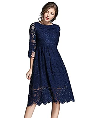 IDEALSANXUN Women's A-Line Slim Floral Lace Cocktail Vintage Midi Length Dress