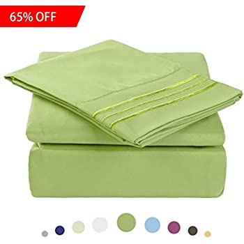 Bed Sheet Set   Microfiber Bedding Deep Pockets Sheets 4 Pc By Maevis  (Grass Green