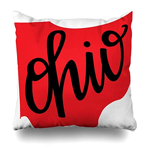 Throw Pillow Covers State University Ohio Outline Hand Lettering America Geography Map Midwest States Home Decor Pillow Case Square Size 18 x 18 Inches Zippered Pillowcase ()