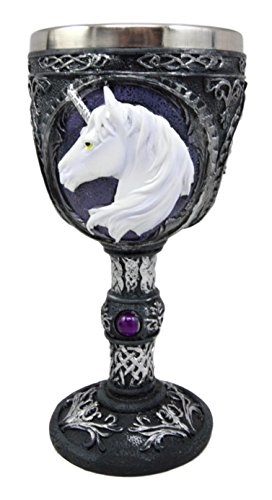Atlantic Collectibles Large Magical Sacred Royal Unicorn Wine Of Purity Goblet Chalice Cup Figurine 8oz Medieval Themed Party Accessory -