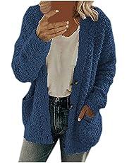 Gebreid damesvest lang grof gebreid pluche jack vrouwen elegant: effen fuzzy fleece jassen met zakken parka dames overgangsjas winterjas dames warm gevoerd gewatteerde jas dames licht bovendeel